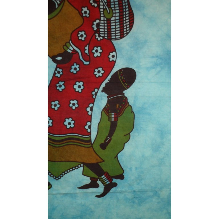 Tenture familles africaines bleue