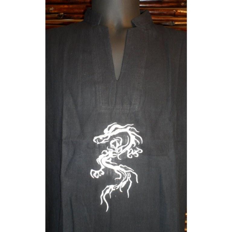 Chemise noire dragon brodé