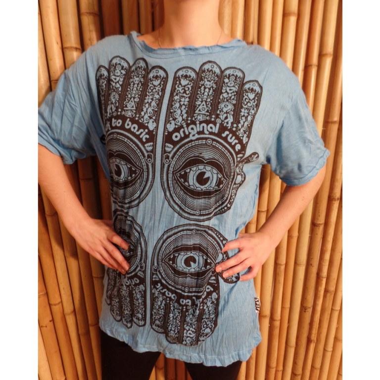 Tee shirt bleu 4 khamsa