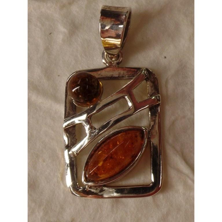 Pendentif rectangle argent et ambre