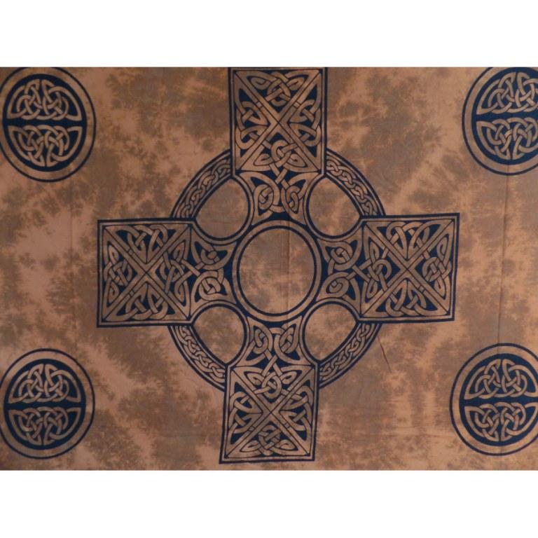 Tenture/paréo marron croix celte
