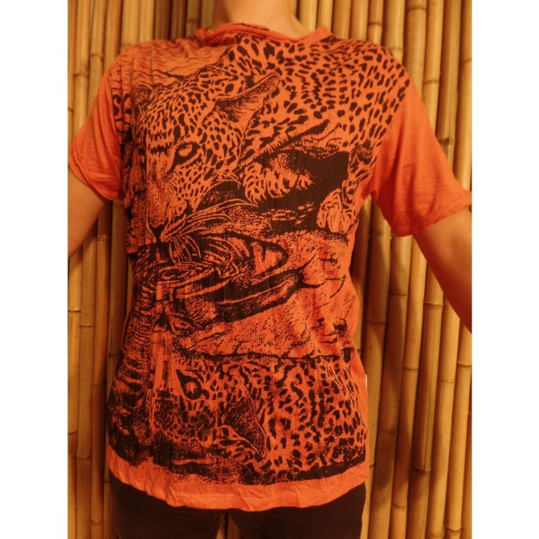 Tee shirt orange panthère à la mare