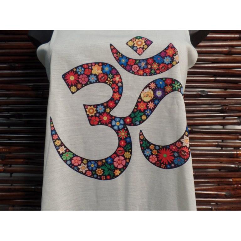 Débardeur écru symbole Om fleuri