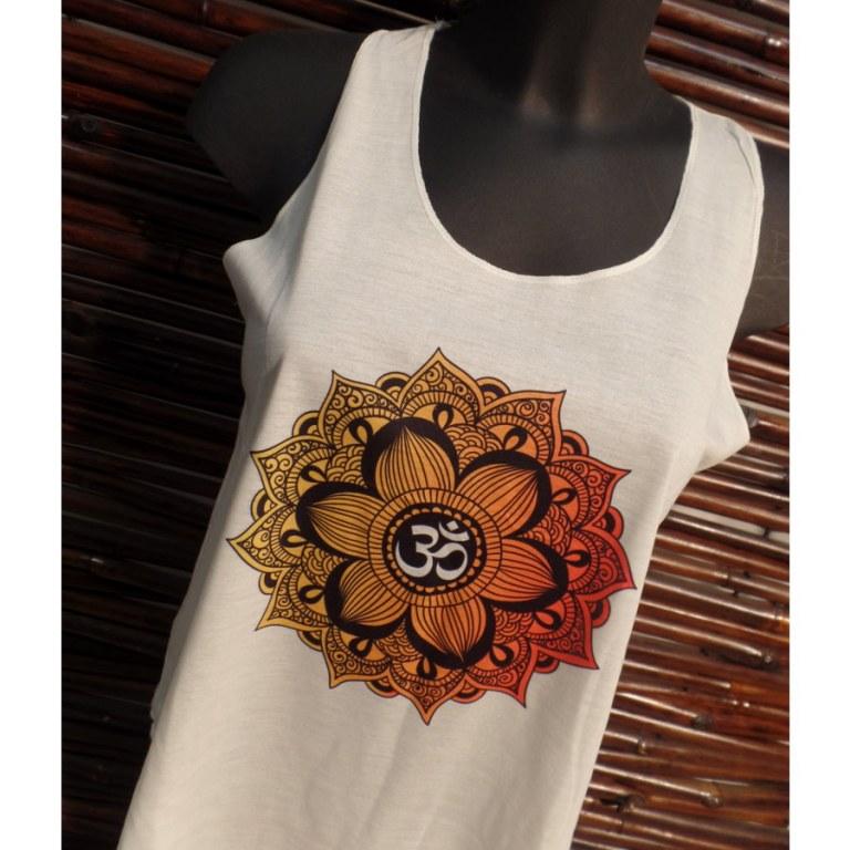 Débardeur écru symbole Om lotus jaune/orange