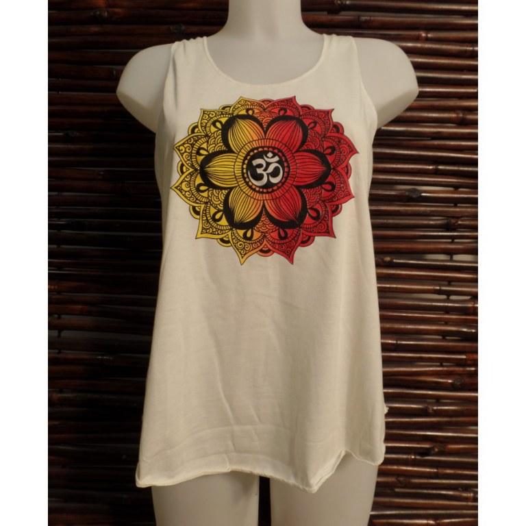 Débardeur écru symbole Om lotus jaune/rouge