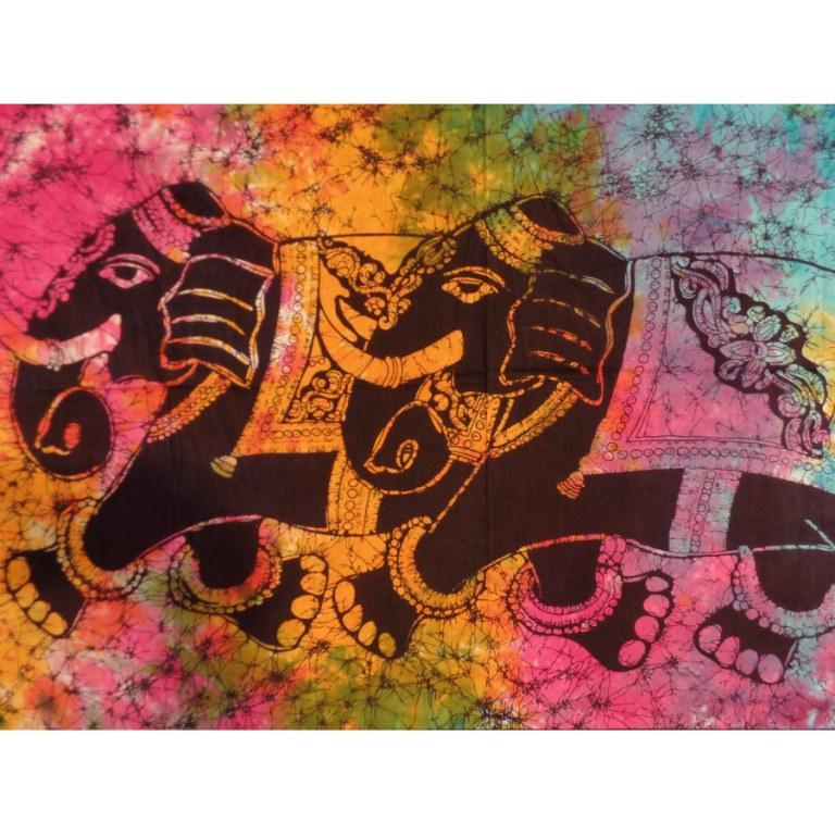 Petite tenture color les 2 éléphants