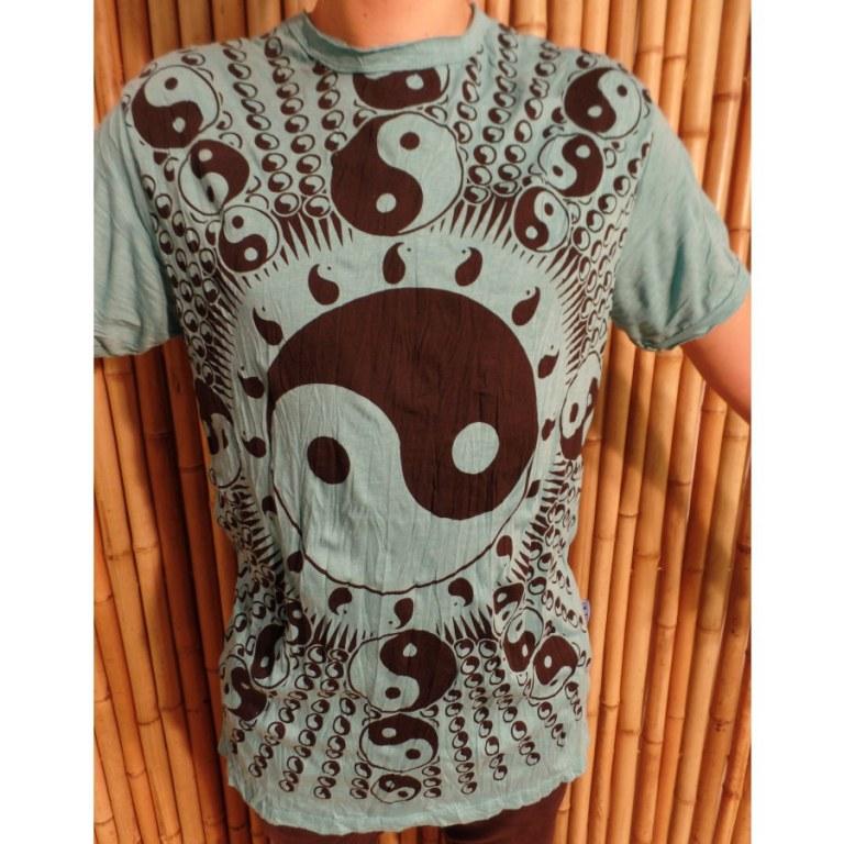 Tee shirt bleu lagon yin yang