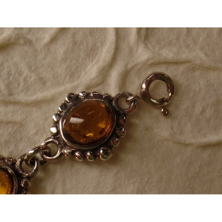Bracelet cabochon ambre et argent