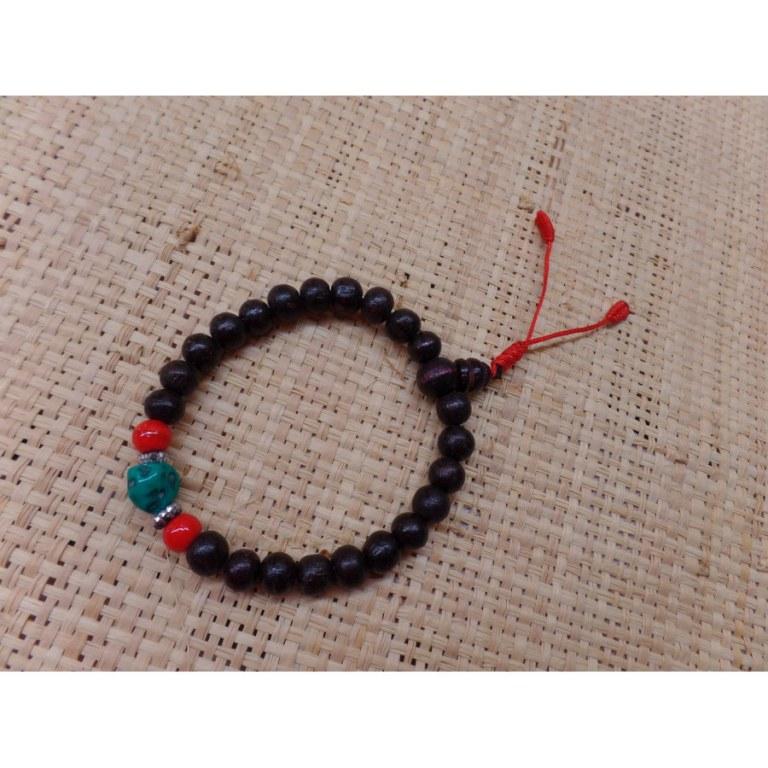 Bracelet mala bois de rose/corail/turquoise