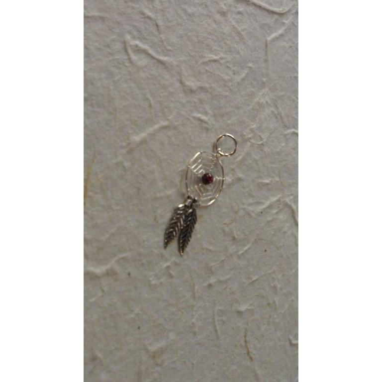 Pendentif dream catcher spider bordeaux 1.6
