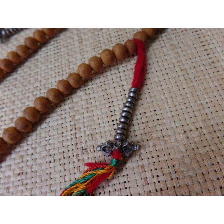 Mala bois de santal compteur dorjé/cloche tibétaine
