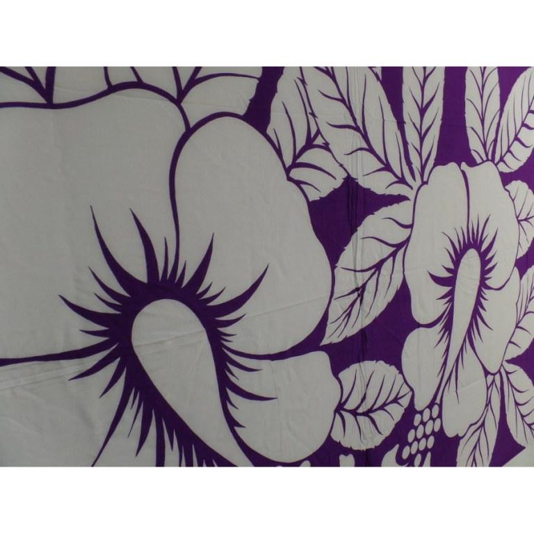 Petite tenture blanc et mauve 2 hibiscus