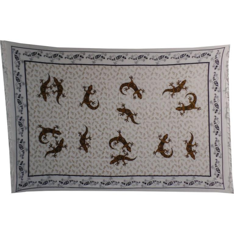 Paréo/tenture blanc/kaki les lézards