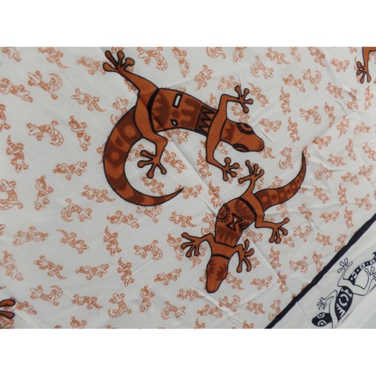 Paréo/tenture blanc/marron les lézards
