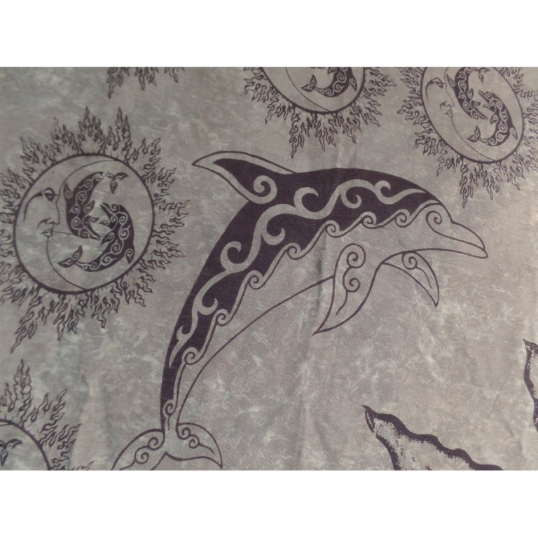 Tenture grise les dauphins et les astres