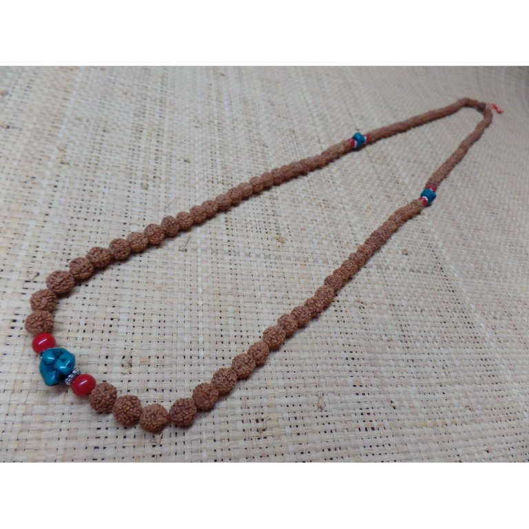 Mala 108 cm Rudraksha/turquoise/corail