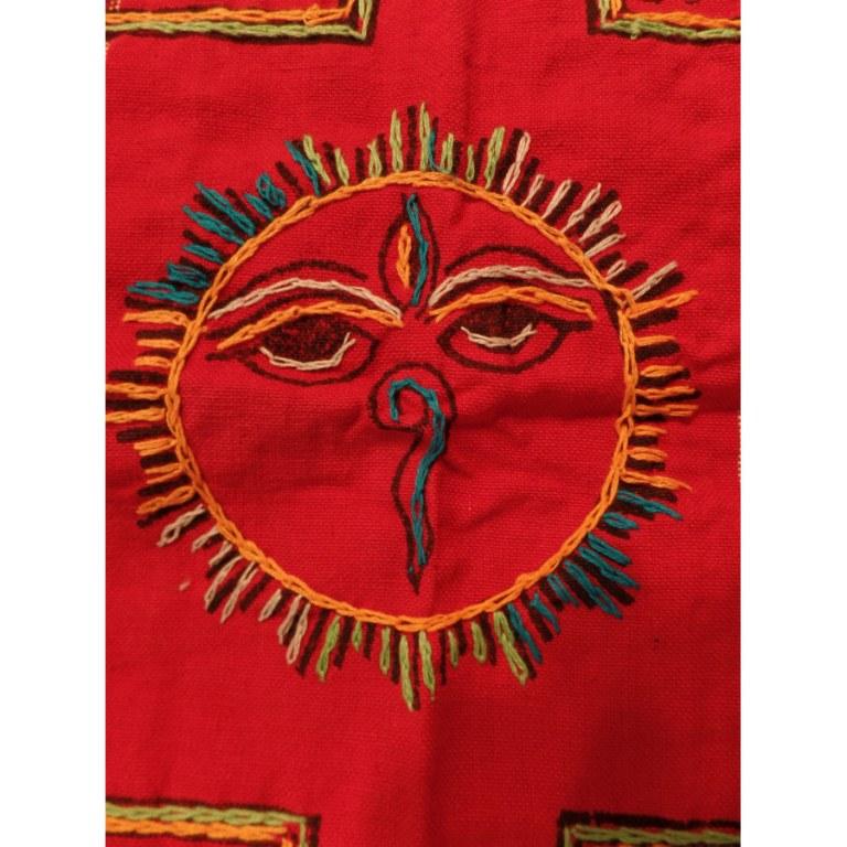 Tenture Chitwan rouge/jaune Bouddha eyes éléphant