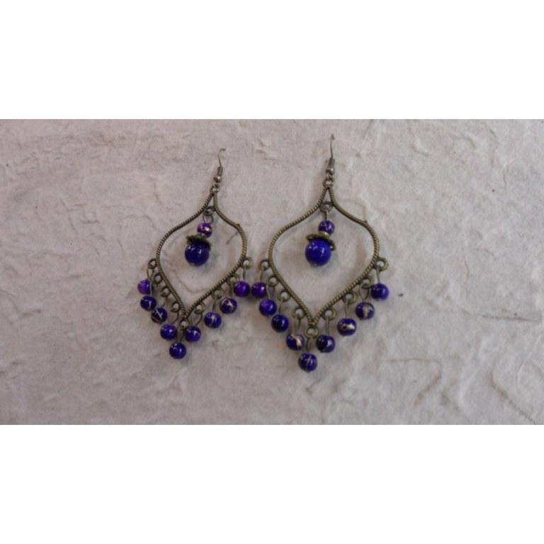 Boucles d'oreilles Yindee violettes