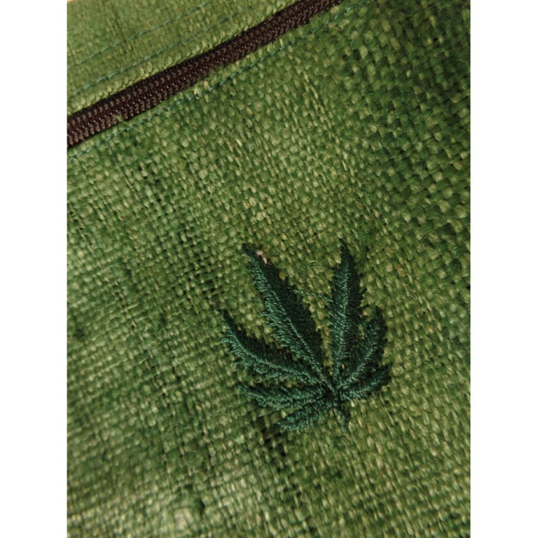 Pochette verte chanvre naturel feuille verte