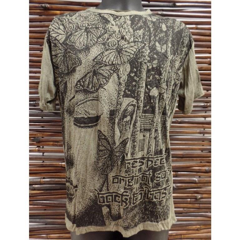 Tee shirt butterfly Bouddha kaki