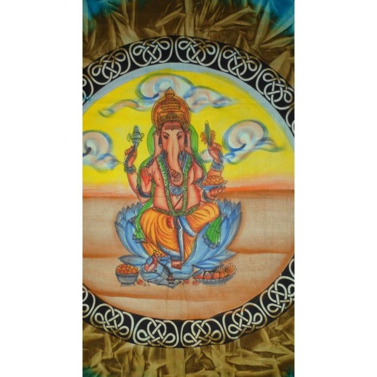 Tenture Ganapati bleu cercle marron