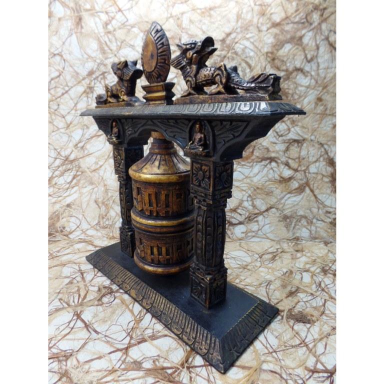 Moulin à prières doré Bouddha et dragons