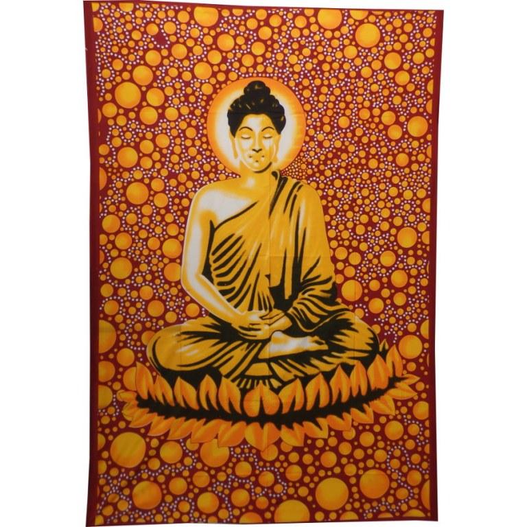 Tenture bulles Bouddha zen jaune