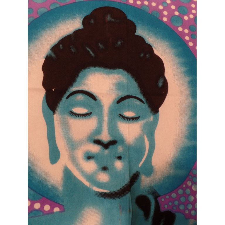 Tenture bulles Bouddha zen bleu