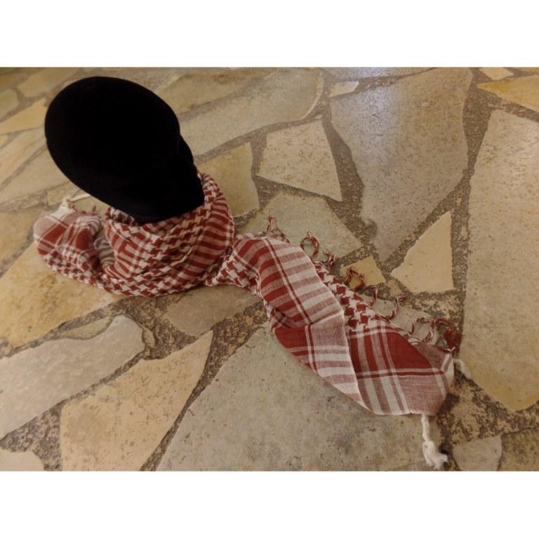 Foulard Riyad carreaux blanc/marron