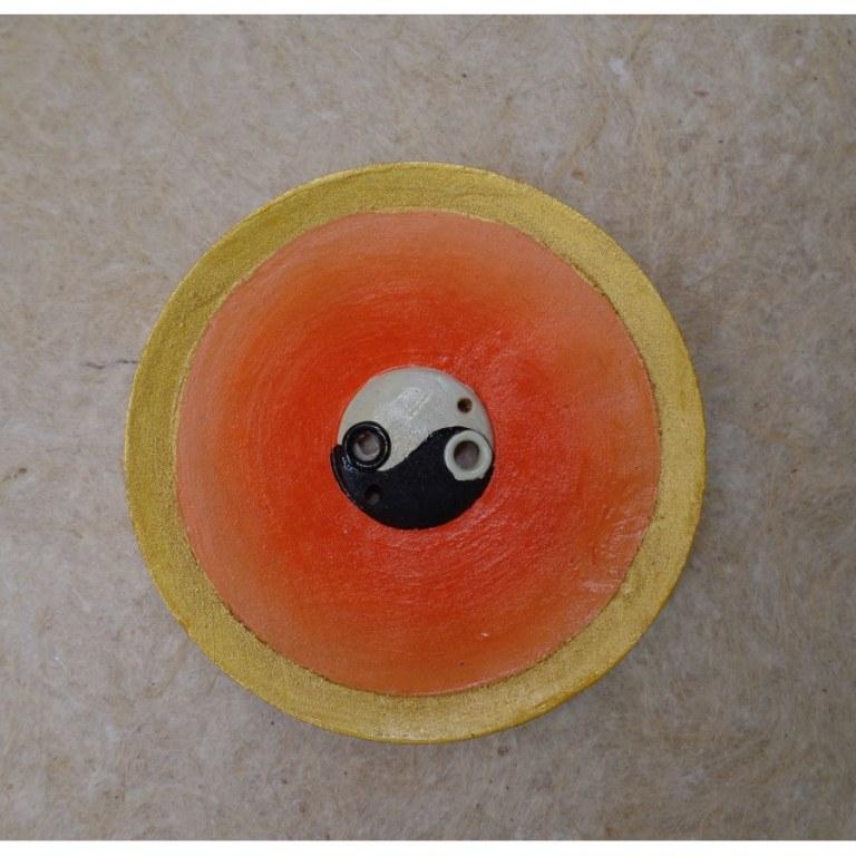 Porte encens orange yin yang