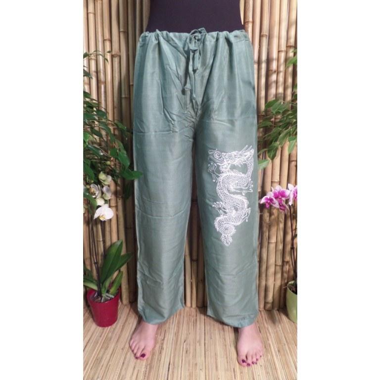Pantalon Vientiane vert émeraude dragon