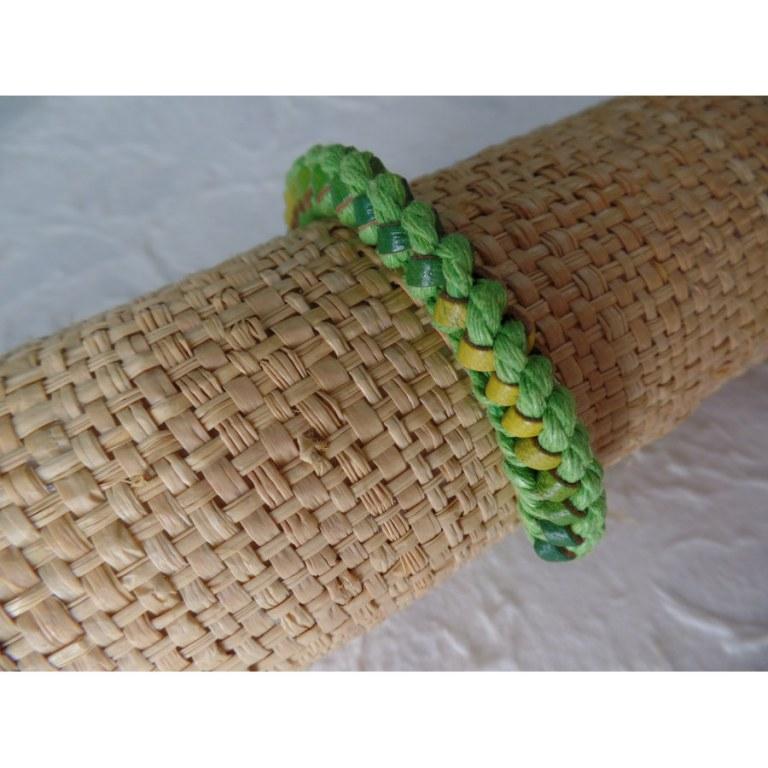 Bracelet Gili cuir vert coton vert