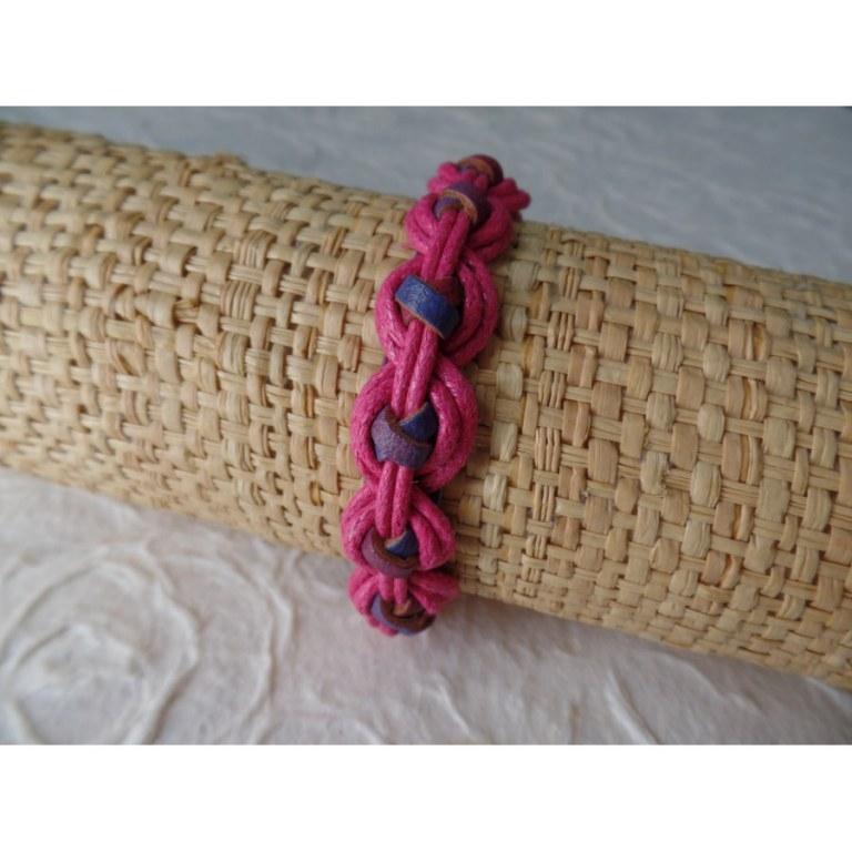 Bracelet Gili cuir bleu coton rose