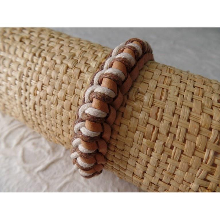 Bracelet Gili cuir beige coton écru/marron