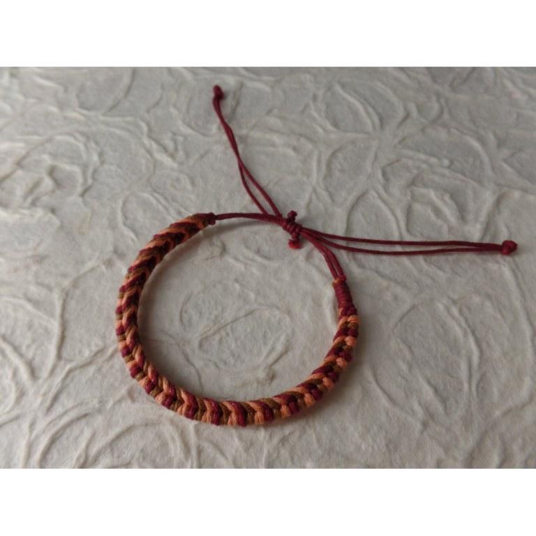 Bracelet tali saumon/marron/bordeaux modèle 8