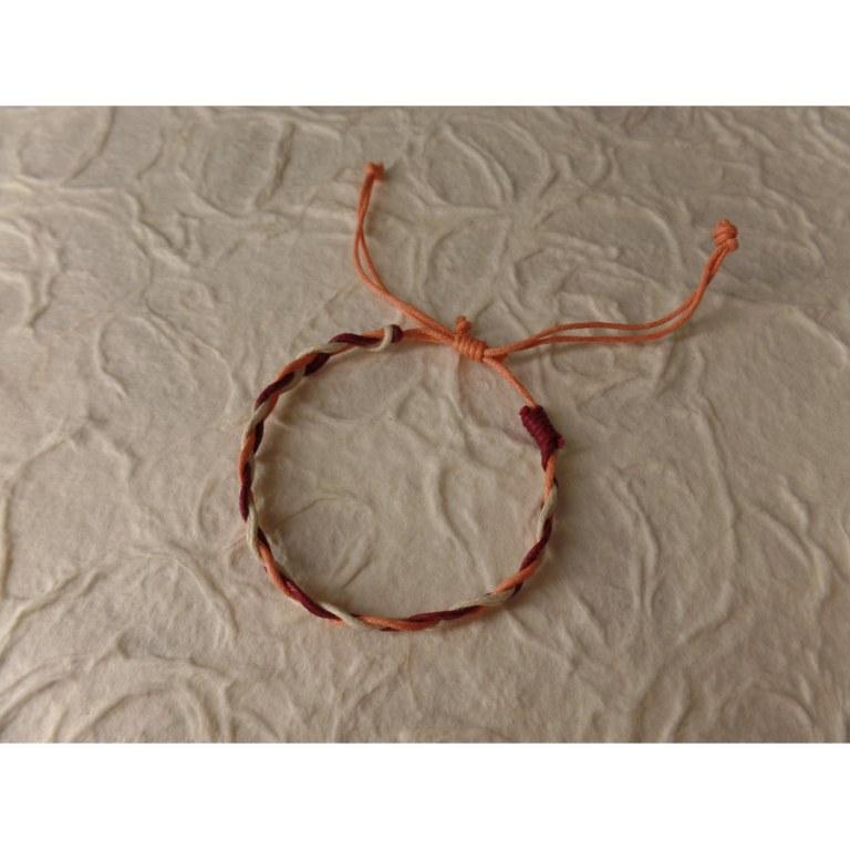 Bracelet tali 2 fils saumon/blanc/bordeaux modèle 5