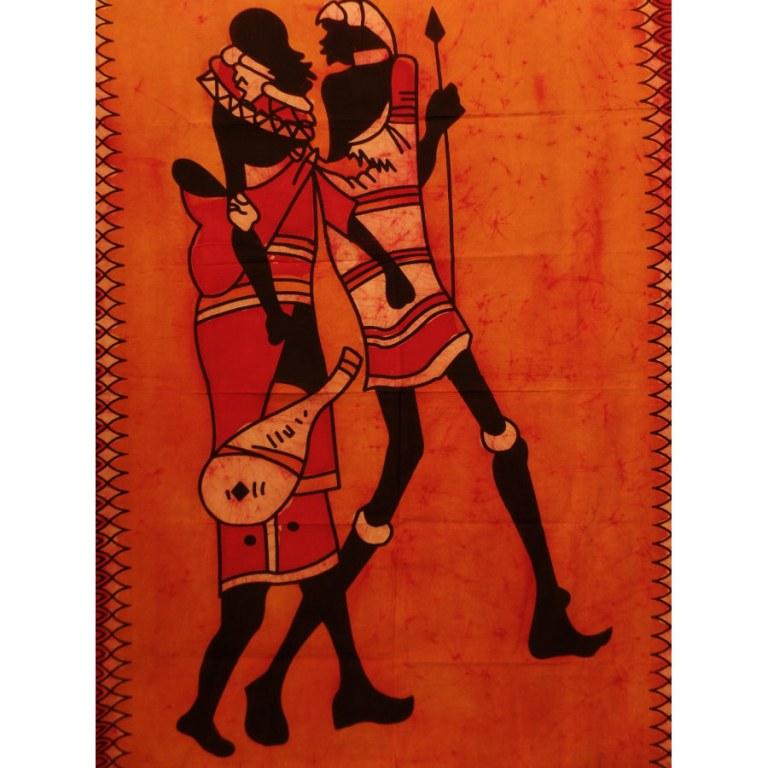 Tenture batik orange balade africaine