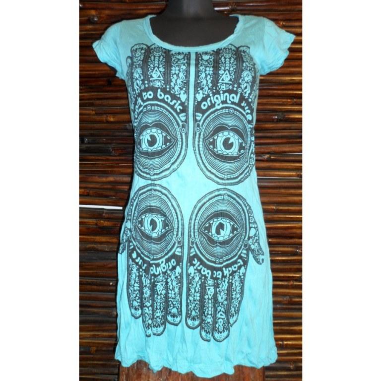 Mini robe turquoise 4 khamsa
