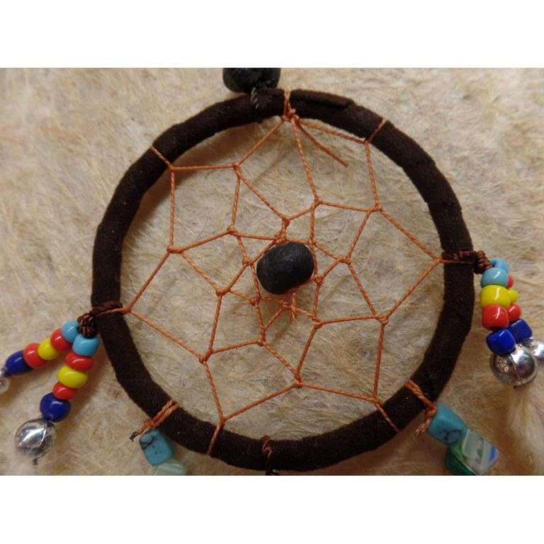Mini capteur de rêves brun/perles color oronouie II