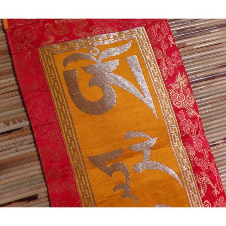 Bannière tibétaine mantra doré Tara verte