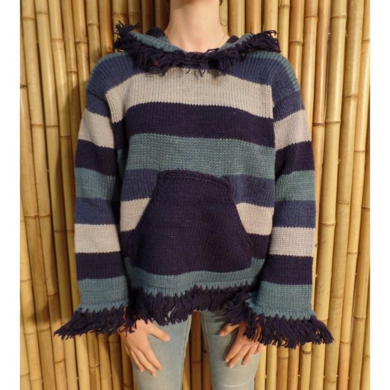 Pull Otaki bleu/gris capuche à pompon