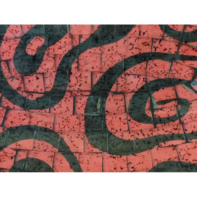 Plat ovale mosaïk rouge/noir