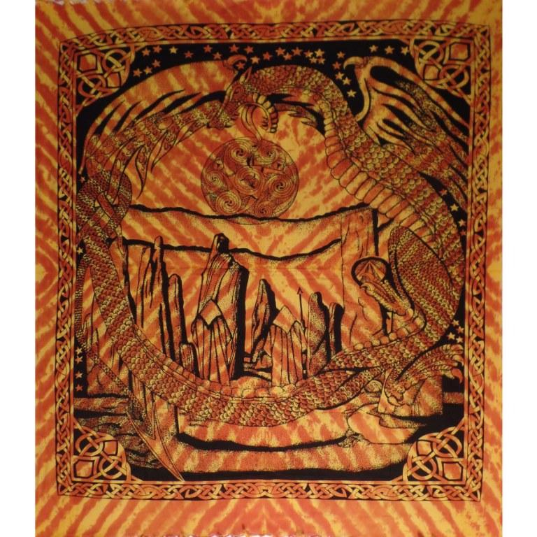 Tenture maxi orange dragon celte