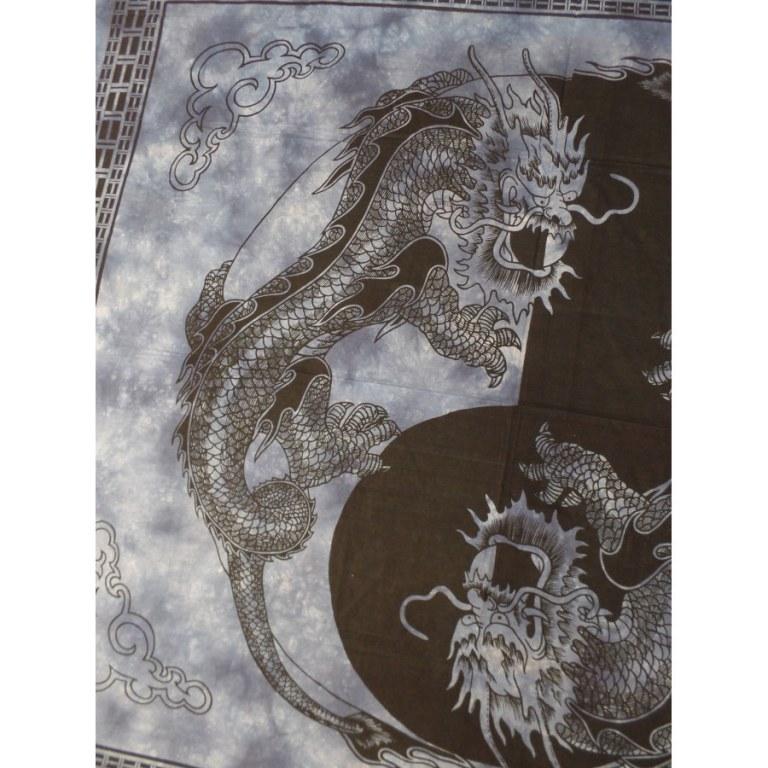 Tenture bleue dragons yin yang noirs