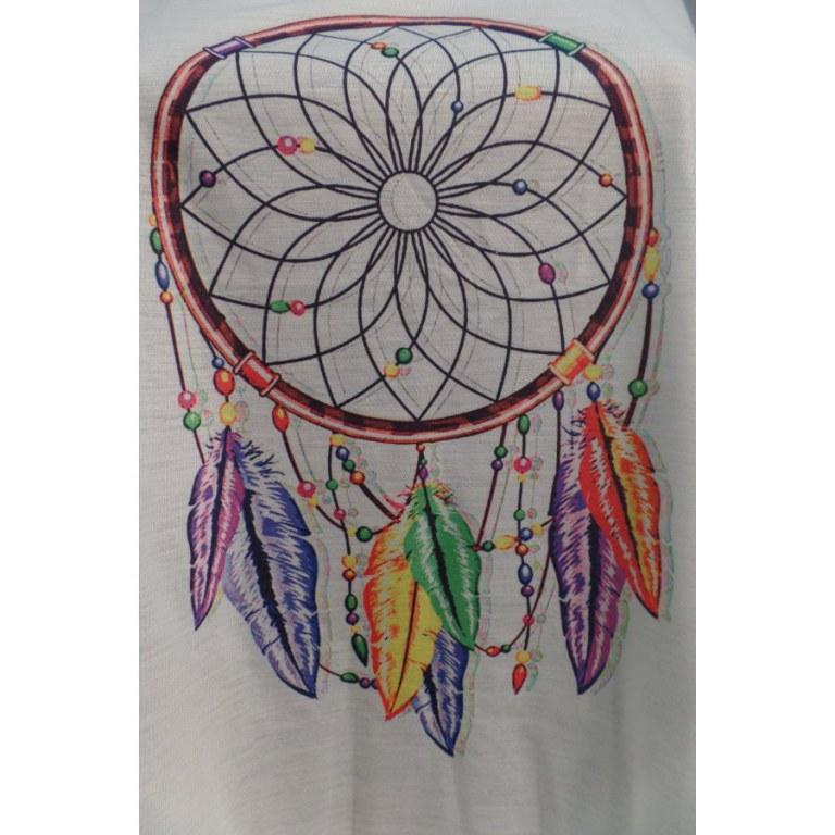 Débardeur dreamcatcher perles et plumes color