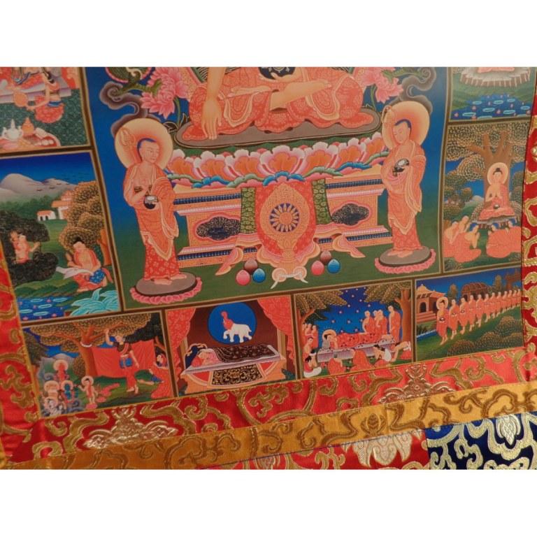 Grand thangka la vie de Bouddha