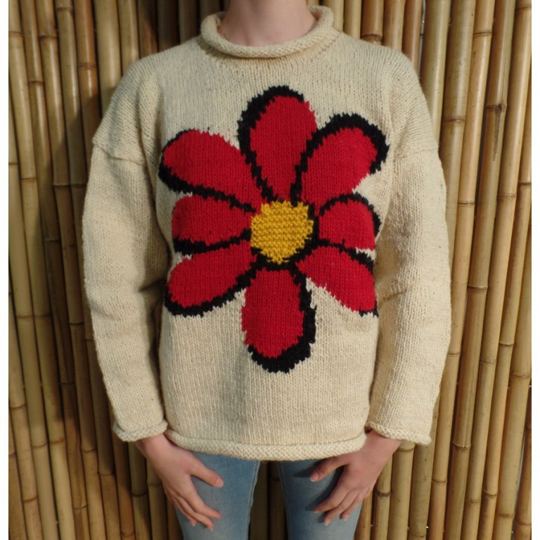 Pull beige marguerite rouge