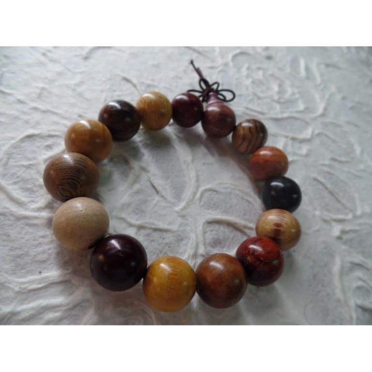 Bracelet tibétain perles bois couleur