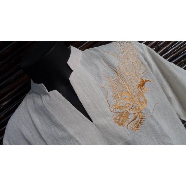 Chemise beige brodée dragon
