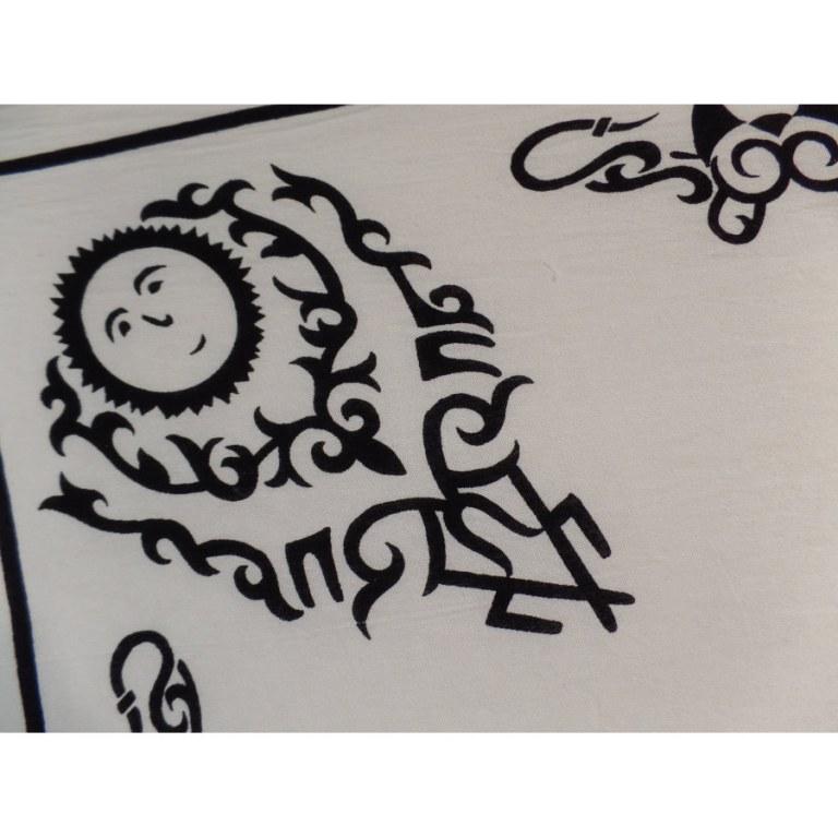 Tenture écrue tribal tattoo solar noir